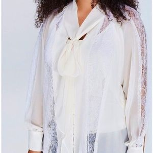 LANE BRYANT lace chiffon necktie bow blouse